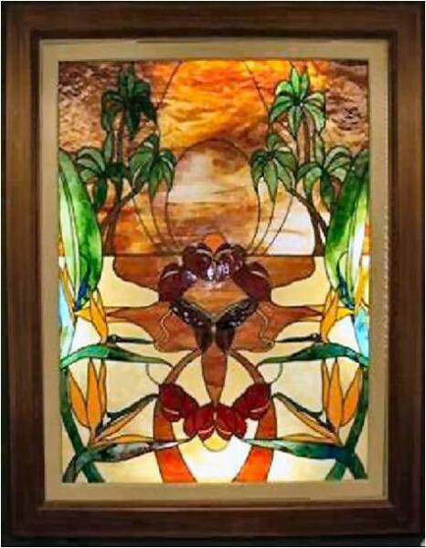 SISTER OF THE WEST, by 2008, by Calley O'Neill, Artist/Designer and Lamar Yoakum, Master Stained Glass Artisan, Big Island, Hawaii.  This window is one of a pair gracing an orthodontic office in Hershey, Pennsylvania.