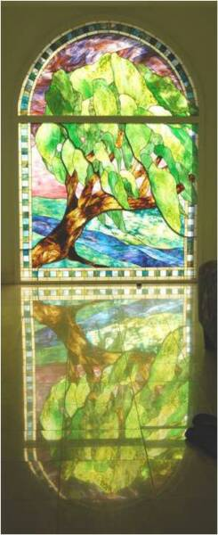WAIMEA WINDSWEPT TREE, stained glass window by Calley O'Neill, Artist and Designer, and Lamar Yoakum, Master Stained Glass Artisan