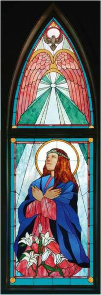THE ANNUNCIATION, 2003 by Artist/Designer Calley O'Neill, and Lamar Yoakum, Master Stained Glass Artisan.  These pieces grace Annunciation Church in Waimea, Big Island, Hawaii.