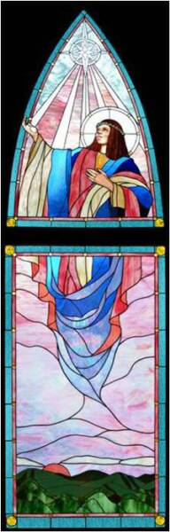 THE ASSUMPTION, 2003 by Artist/Designer Calley O'Neill, and Lamar Yoakum, Master Stained Glass Artisan.  These pieces grace Annunciation Church in Waimea, Big Island, Hawaii.