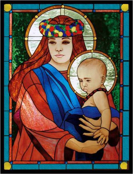 THE MADONNA AND CHILD, 2003, by Calley O'Neill, Designer/Artist and Lamar Yoakum, Master Stained Glass Artisan, Big Island, Hawaii.  Window at The Annunciation Church, Waimea, Big Island, Hawaii.