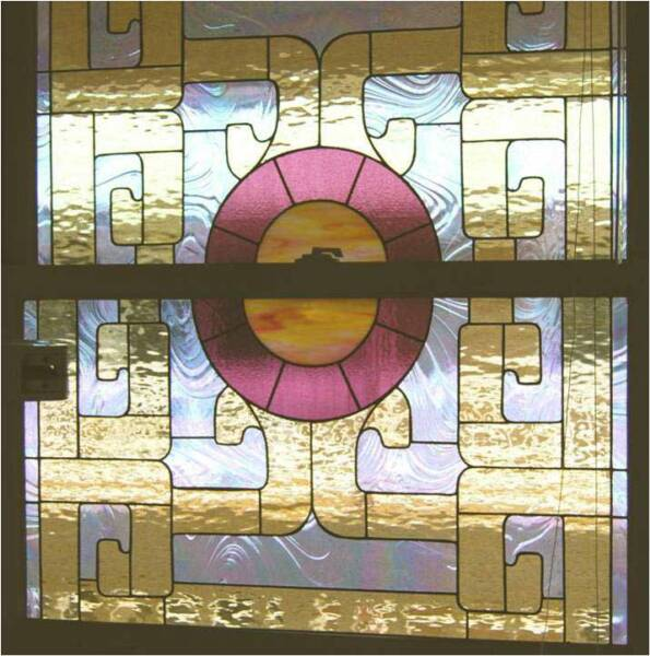 PEACE MANDALA, by Calley O'Neill, Artist/Designer, and Lamar Yoakum, Master Stained Glass Artisan, Waimea, Hawaii.  This window blocks public view into a dental operatory at the offices of  Leesa Miyasoto, DDS in Waimea, Hawaii.