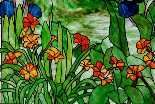 WAIMEA HILLS, 2009, by Calley O'Neill, Artist/Designer, and Lamar Yoakum, Master Stained Glass Artisan, Waimea, Big Island, Hawaii.  These pieces are details of an old fashioned Waimea garden tryptic, consisting of three cathedral windows in a Waimea home.