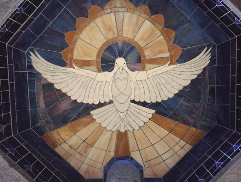 HOLY SPIRIT BAPTISMAL FONT, ANNUNCIATION CHURCH 2018  Calley's very first underwater stained glass mosaic depicts the Holy Spirit, in the front entrance of the beautiful Annunciation Church in Calley's hometown of Waimea on the Big Island.  This was an inspired piece coming from meditation, wherein Calley hand placed each of the pattern pieces on the glass.  Calley designed the raised fired gold, which together with the opal heart emphasizes the holy emanations of light of Faith.  When the Holy Spirit drawing was perfect, a crystal sourced rainbow cast its colors upon the drawing in Calley's studio.  Divine Guidance.  This pool was only the second piece in Calley's career in which she would not change a thing.