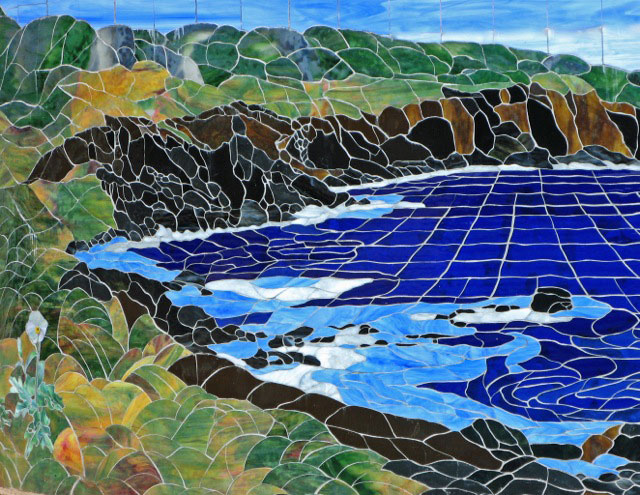PUA KALA AT PUAKEA BAY,  2005, by Calley O'Neill, Artist/Designer and Lamar Yoakum, Master Stained Glass Artisan.  These details are part of a poolside mosaic gracing a Puakea Bay home on the Big Island of Hawaii.  For more information about this mosaic, click this photo.