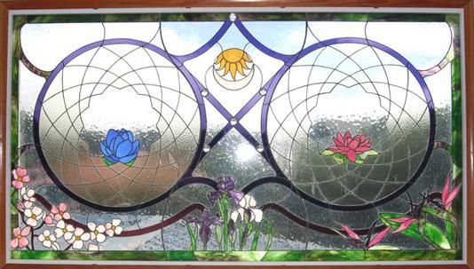 THE HARMONY WINDOW, 2012, by Calley O'Neill, Artist and Designer, and Lamar Yoakum, Master Stained Glass Artisan, Waimea, Big Island, Hawaii